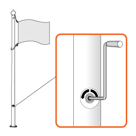 Winch flag-raising system