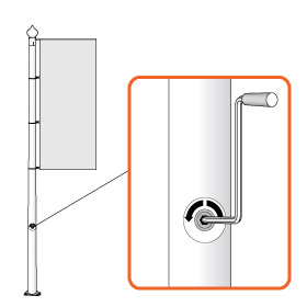 Banner lift winch flag-raisin system